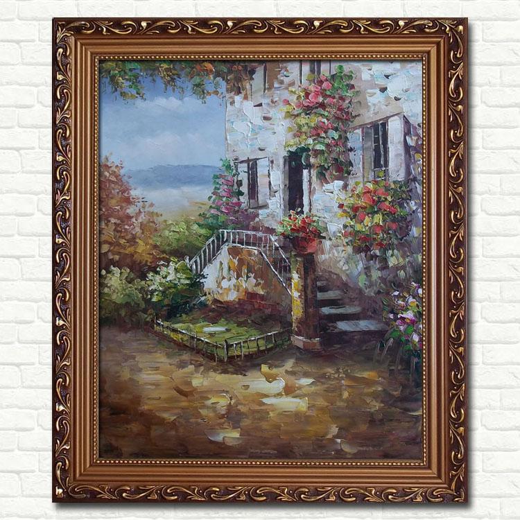 欧式花园景油画 客厅 玄关走廊有框装饰画