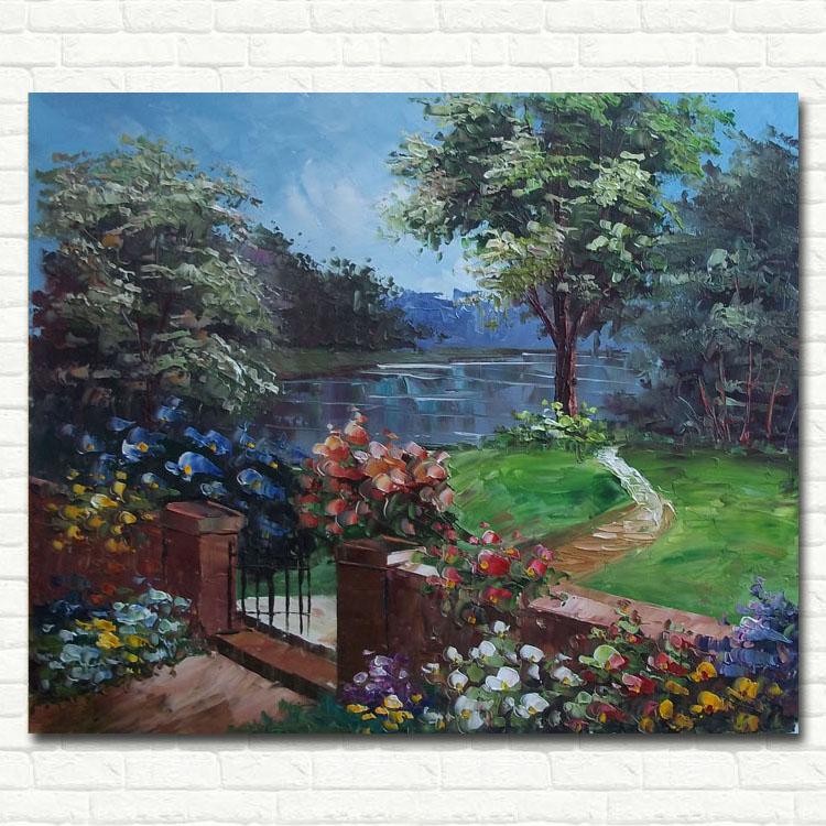 手绘油画欧式客厅装饰壁画立体花园景无框画餐厅有框